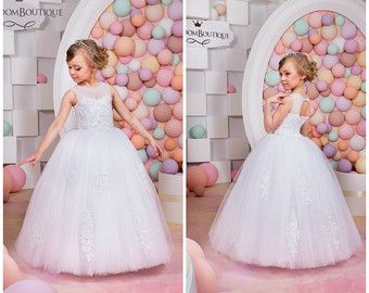 Ivory and Blush Lace Tulle Flower Girl Dress by KingdomBoutiqueUA