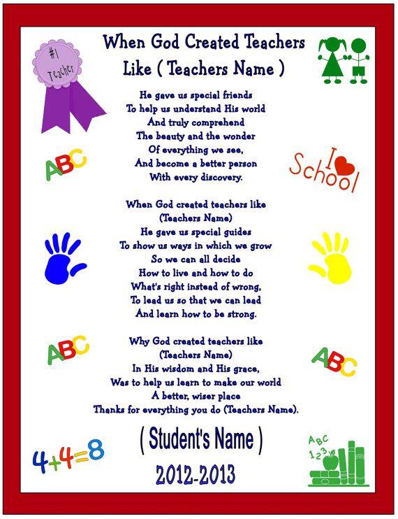 poem for preschool teacher 8 best presents images on school la 880