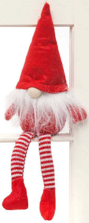 Sweet little Christmas gnomes with long legs sit perfectly on a shelf. Move it around and cause a little mischief with your own Gnome in the Home. Measures 16.5""