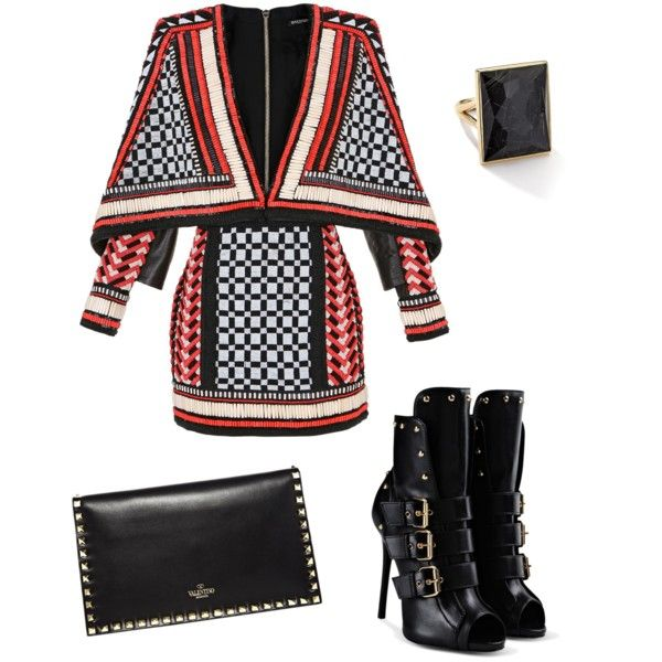 A fashion look from February 2015 featuring Balmain dresses, Giuseppe Zanotti ankle booties and Valentino clutches. Browse and shop related looks.