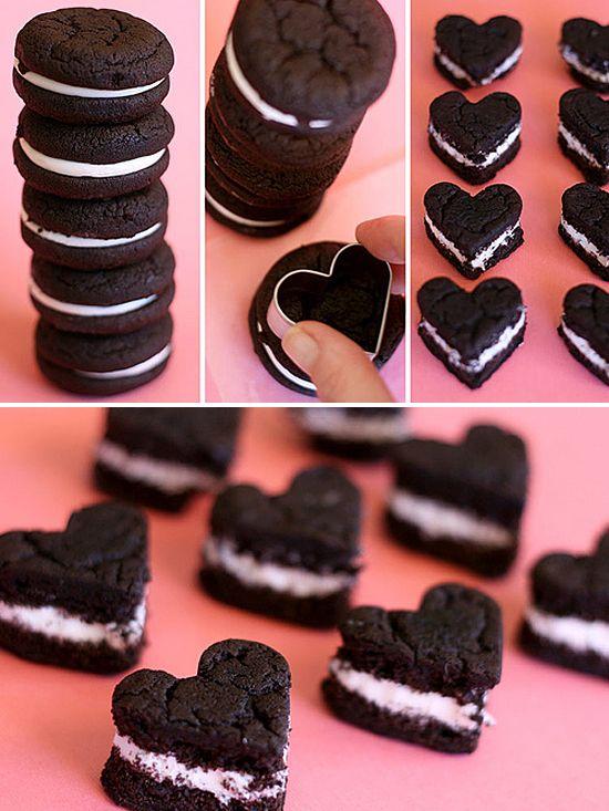 Oreo cakesters / Valentine's cookies: Sweet, Shaped Oreos, Valentines Day, Oreo Heart, Heart Oreo, Cookie Cutters, Oreo Cakesters, Valentine S