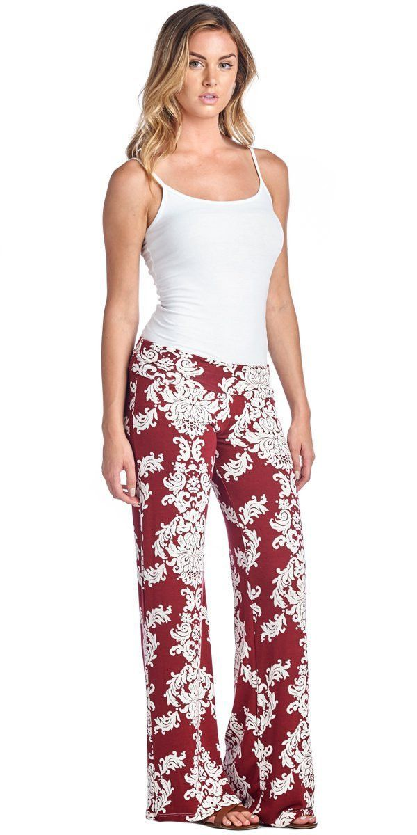 Straight Fashion Flower Print Casual Wide Legs Pants