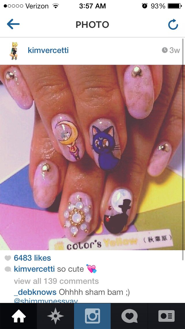 Nails, Nail Art, Nail Design, Japanese Nail Art, Kawaii, Manicure, Sailor Moon, Luna, Tuxedo Kamen, Tuxedo Mask, Crescent Moon Wand, Rhinestones, Crystals, Opal, Heart Stud, Gold Studs, Marble, Pink, Purple, White, Iridescent, Red