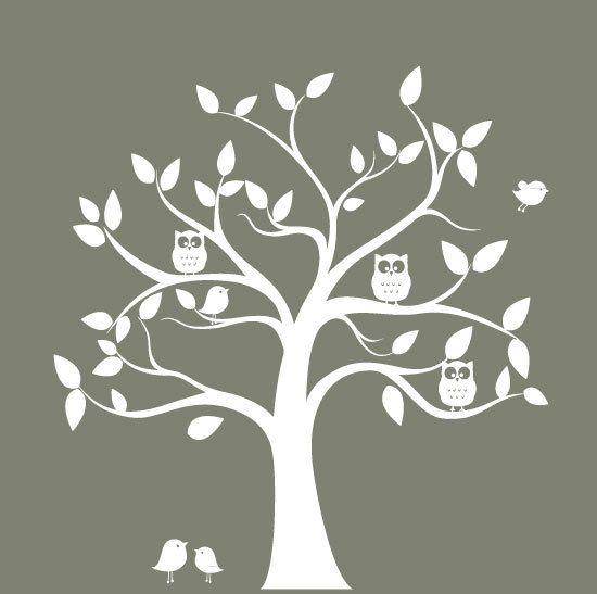 nursery wall decal tree - tree silhouette with Owls & birds - wall sticker