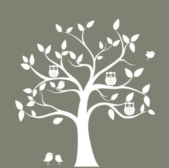 Décalcomanie arbre de pépinière blanc silhouette viennent avec arbres, oiseaux, chouettes cette mesures décalque 89 de large x 86 *** couleurs