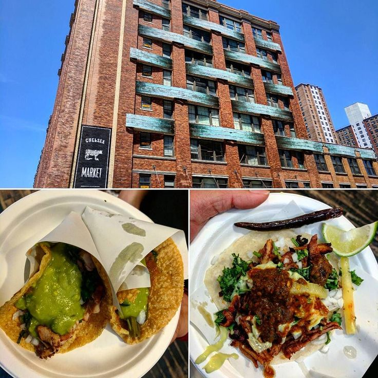 Top: The Chelsea market building where the Oreo biscuit was invented in the early-mid 1900. Bottom: The market now hosts shops and food stores on the ground floor. So we got -  Nopal (Grilled cactus) tacos  Adobada marinated taco  #newyorkcity #newyork #nycfood #eaternyc #eater #nyc #chelseanyc #market #taco #tacos #tacotuesday #ilovetacos #tuesday #cactus #mexicanfood #foodie #instafood #delicious #instafoodie #food #hungry #buzzfeast #huffposttaste #buzzfeedfood #buzzfeedtasty  #instagood…