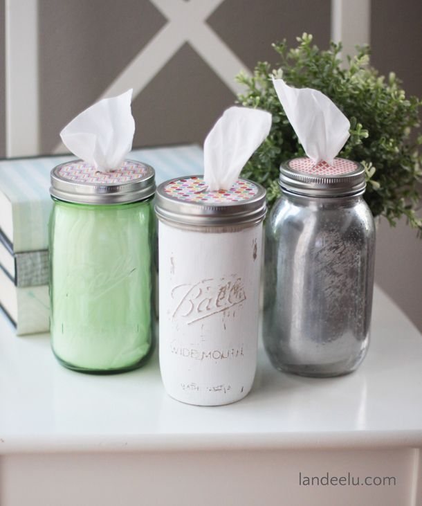 Mason Jar Tissue Holders | http://landeelu.com Such a cute and easy way to have tissues in any room! And you can decorate the mason jar however you want to fit into any decor!