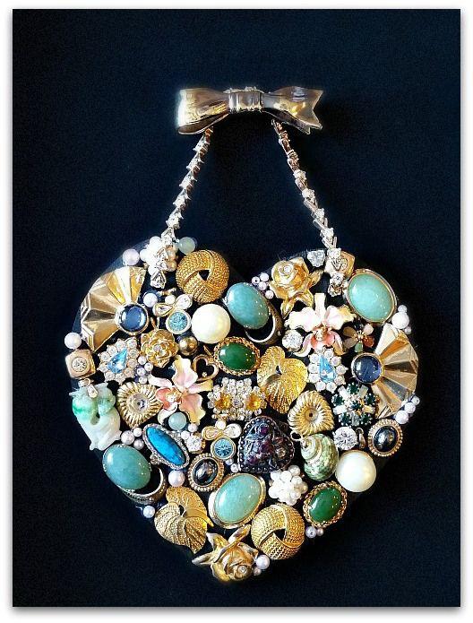 Heart Keepsake Jewelry Collage Diy Projects Costume Jewelry