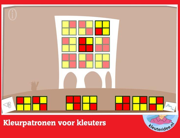 Kleurpatronen voor kleuters, rekenen met digibord of computer  op kleuteridee, Kindergarten educative game for IBW or computer