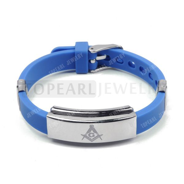 Topearl Jewelry 3pcs 304 Stainless Steel Blue Masonic Rubber Bracelet MEB868