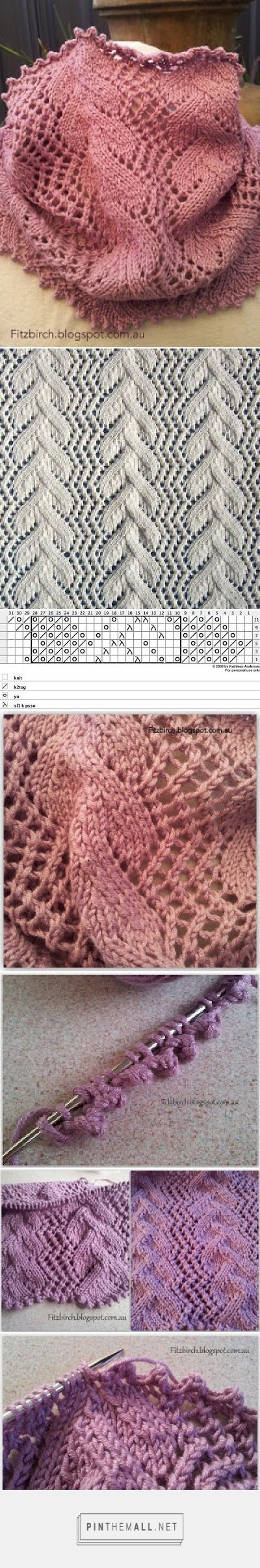 """Lace Knitting with antique """"Vine Tidy"""" pattern: Trellis Vine Cowl by FitzBirch Crafts. Picot cast on and picot bind off. ~~"""