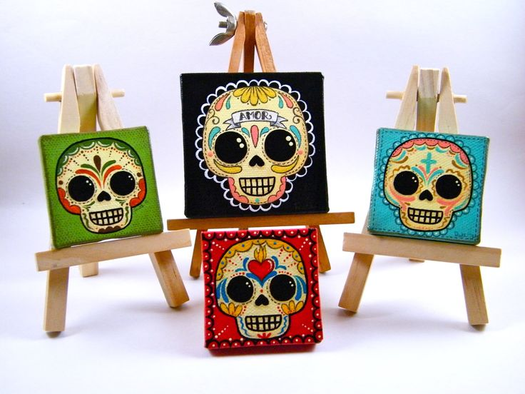 Sugar Skull Mini Canvas Paintings by My Mayan Colors  Original Art by My Mayan Colors (Ruth Barrera). All images are the sole property of My Mayan Colors and not intended for copy