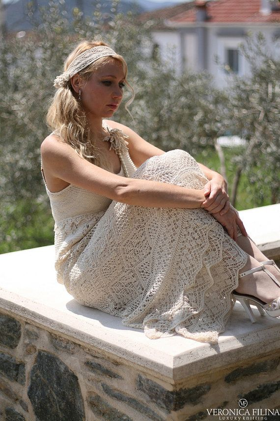 hand knitted silk lace dress wedding dress by VeronicaFilina