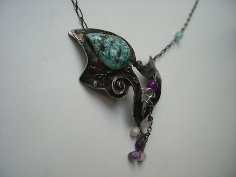 Necklace - gemstone,cooper, tinned jewelry, Seemoon 2011
