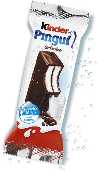 """The Kinder Pingui course uses the colors of Kinder: The Red White and Black tradiotionnels Kinder, blue reminiscent of the freshness and white wave, which refers explicitly milk, a healthy product. This spirit of """"milk"""" is reinforced by the glass of milk and the note « fresh milk » as it emphasizes the fresh dimension. Finally, the chocolate squares are there to create a sensation of quality of the ingredients."""