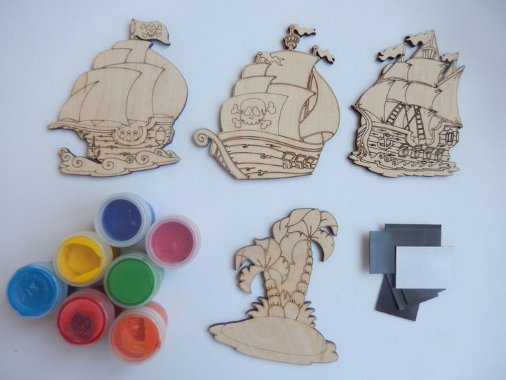 Pirates Ships. Simple Kids Crafts Set. Kids Coloring. DIY Crafts. Wood Craft Toy. Craft Supply. Wood Cutouts. Fridge Magnets. 032 by BadooCrafts on Etsy https://www.etsy.com/listing/235003186/pirates-ships-simple-kids-crafts-set