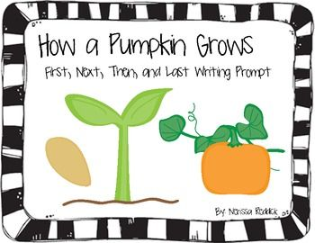 A book describing all the steps to how a pumpkin grows. The book should be printed, photocopied, cut, and bound together. I also have included a teachers book to read to the class. This is a quick activity that will help kids in learning first, next, then, after, and finally.