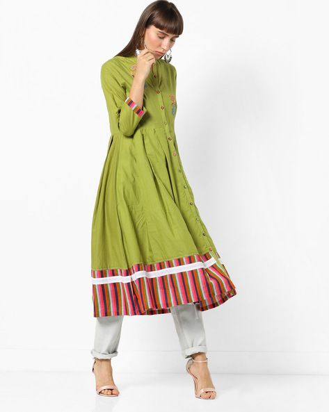 1ce12a2902 Buy AJIO Women Olive Green Embroidered Flared Kurta with Mandarin Collar |  AJIO