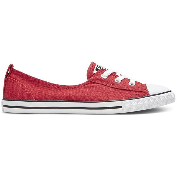 Converse Women's Chuck Taylor All Star Ballet Lace Canvas Flats (€38) ❤ liked on Polyvore featuring shoes, flats, flat shoes, embellished ballet flats, canvas slip on shoes, slip-on shoes and lace flats