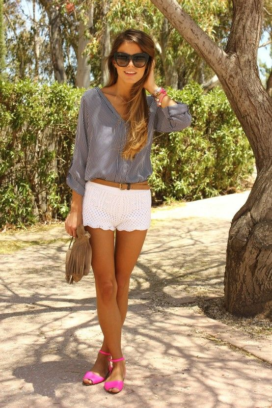 pinstripe?:  Minis, Fashion, White Shorts, Style, Crochet Shorts, Cute Summer Outfits, Pink Shoes, Lace Shorts, Summer Clothing