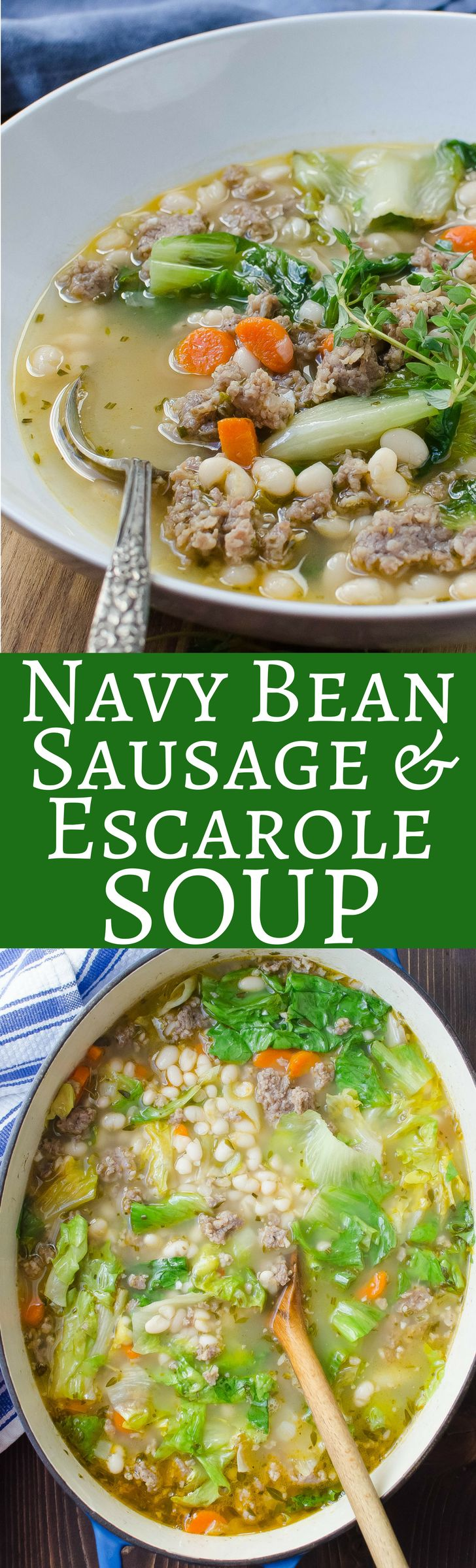 Navy Bean Sausage and Escarole Soup - Inexpensive and super easy to make -- this is comfort food at it's best!