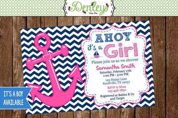 Pink Nautical Anchor Baby Shower Invitation Girl Nautical