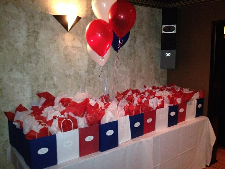 Class Reunion Party Favor Bags - pint glass, Advil, water bottle and chocolate covered popcorn