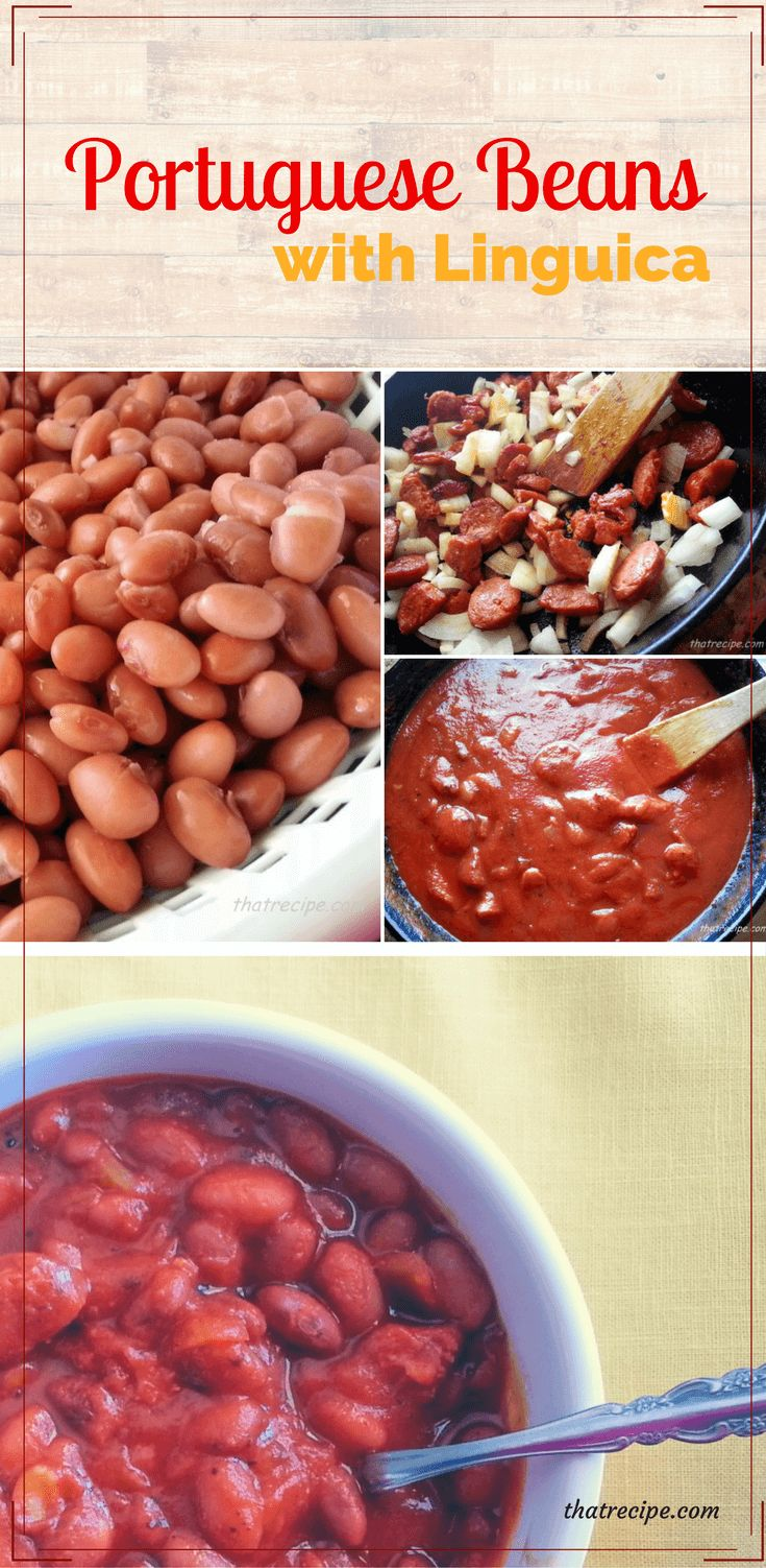Portuguese Beans with Linguica is a sweet, spicy and meaty bean dish. Great in cold weather, or as a side dish for a barbecue.