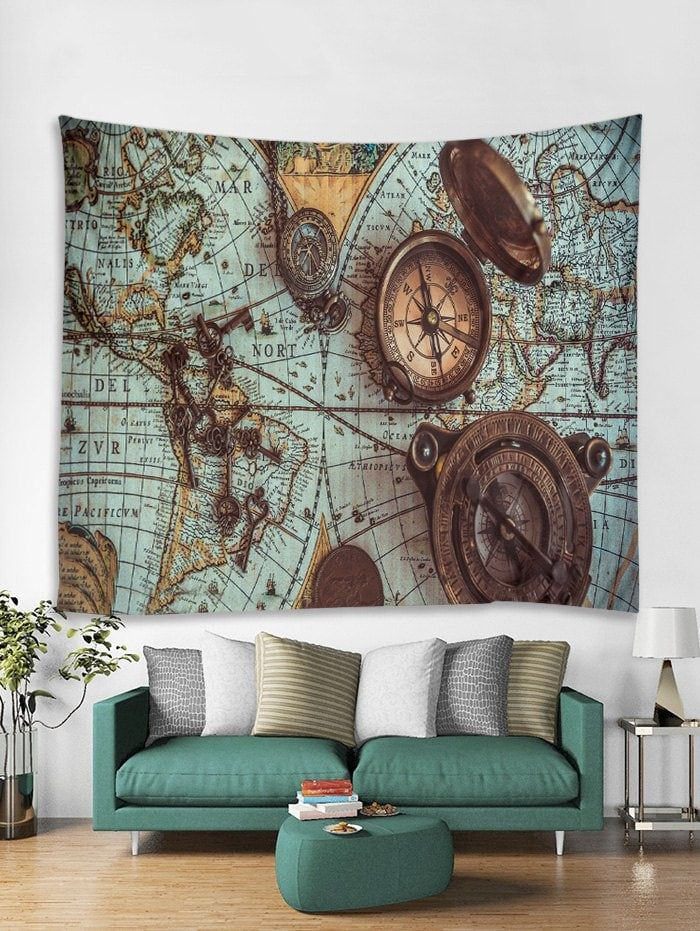 Retro World Map Print Tapestry Wall Hanging Art Decoration In 2019