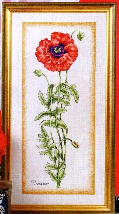 """Embroidery """"Poppy""""...Free chart pattern to embroider this pretty poppy!!"""