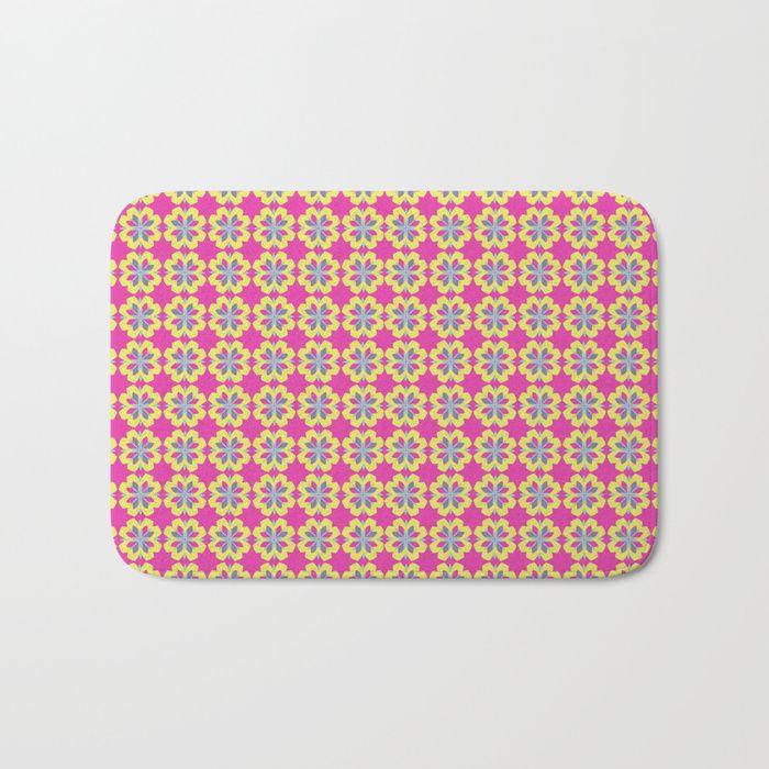 Pink Mediterranean tiles pattern Bath Mat