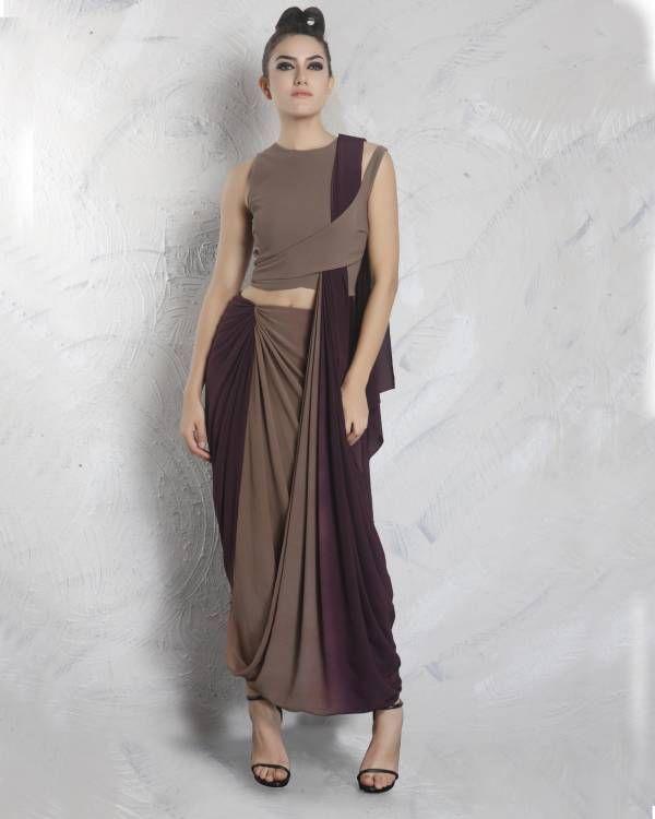 Neoprene top with milton purple saree    Featuring cedar neoprene stylized top. Cedar to milton purple drape silk crepe saree