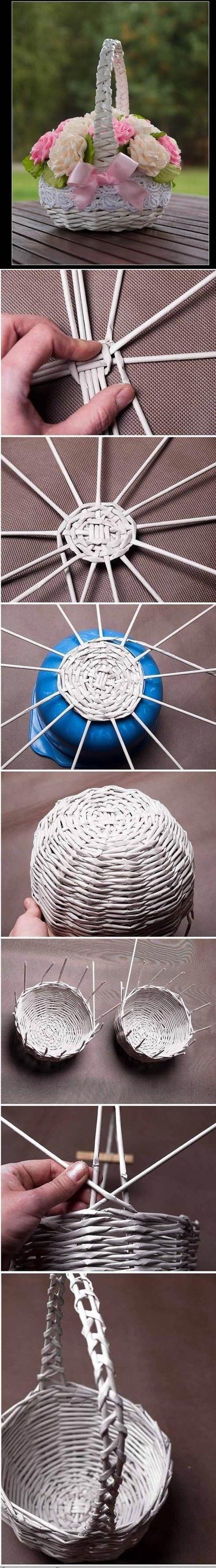 koszyk z wikliny papierowej - tutorial