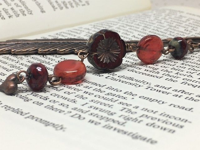 Copper feather bookmark with red beads £7.50