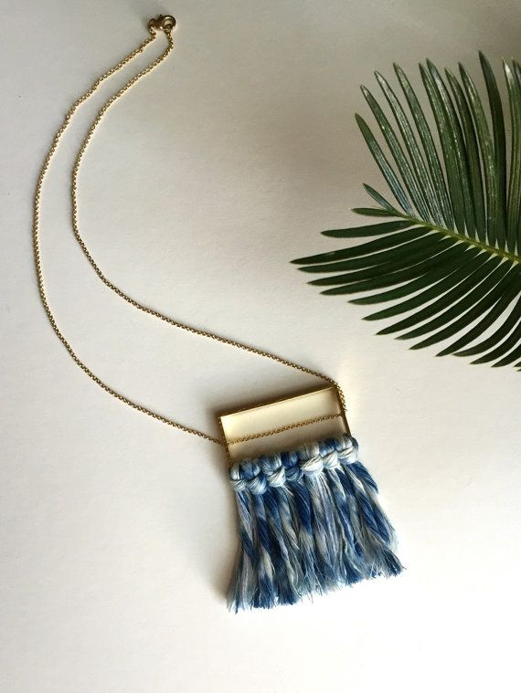 Shibori Indigo Dyed Fiber Fringe Necklace with Raw Brass