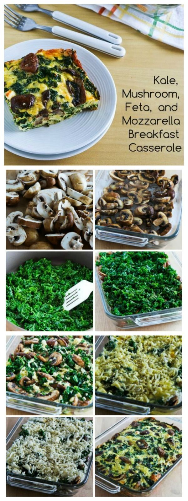 Traditional Kale, Mushroom, Feta, and Mozzarella Breakfast Casserole ...
