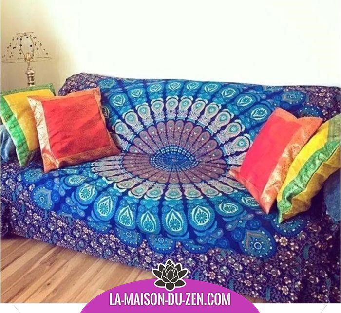 Magnifique couvre sofa mandala canap couvre d co d coration maison mandala plaid salon sofa - Decoration chambre psychedelique ...