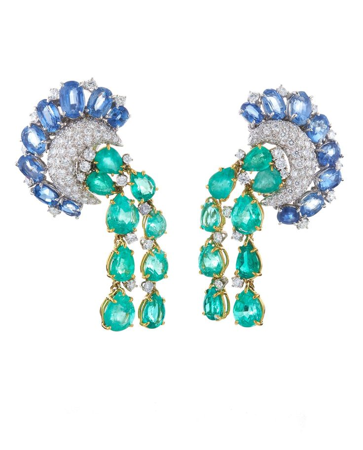 David Webb New York ~ Earrings set with oval-cut sapphires, pear-shaped emeralds and brilliant-cut diamonds, in 18K gold and platinum