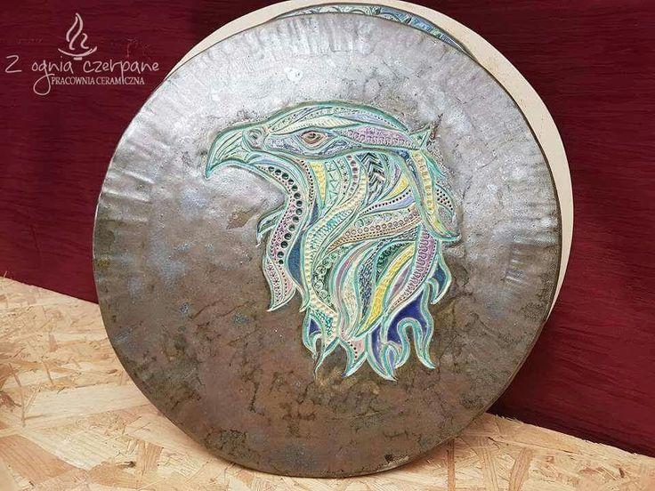 """Ceramic """" Mandala Eagle"""" by Z ognia czerpane"""