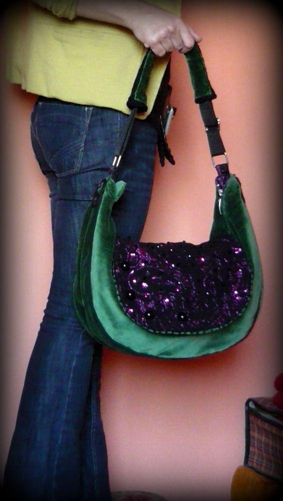 Handmade by Judy Majoros - Green velvet and purple-black lace beaded boho bag. Crossbody bag. Recycled bag