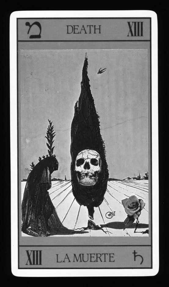 Death card - interesting symbolism - e.g. the Cypress tree behind the skull...