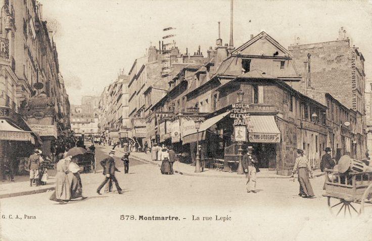 rue Lepic - Paris 18e - La rue Lepic vers 1900 (ancienne carte postale).
