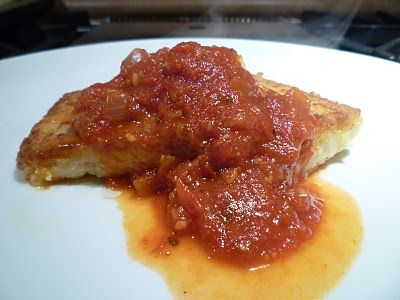The Chef In My Head: Spicy Tomato-Basil Sauce with Pan-Seared Polenta