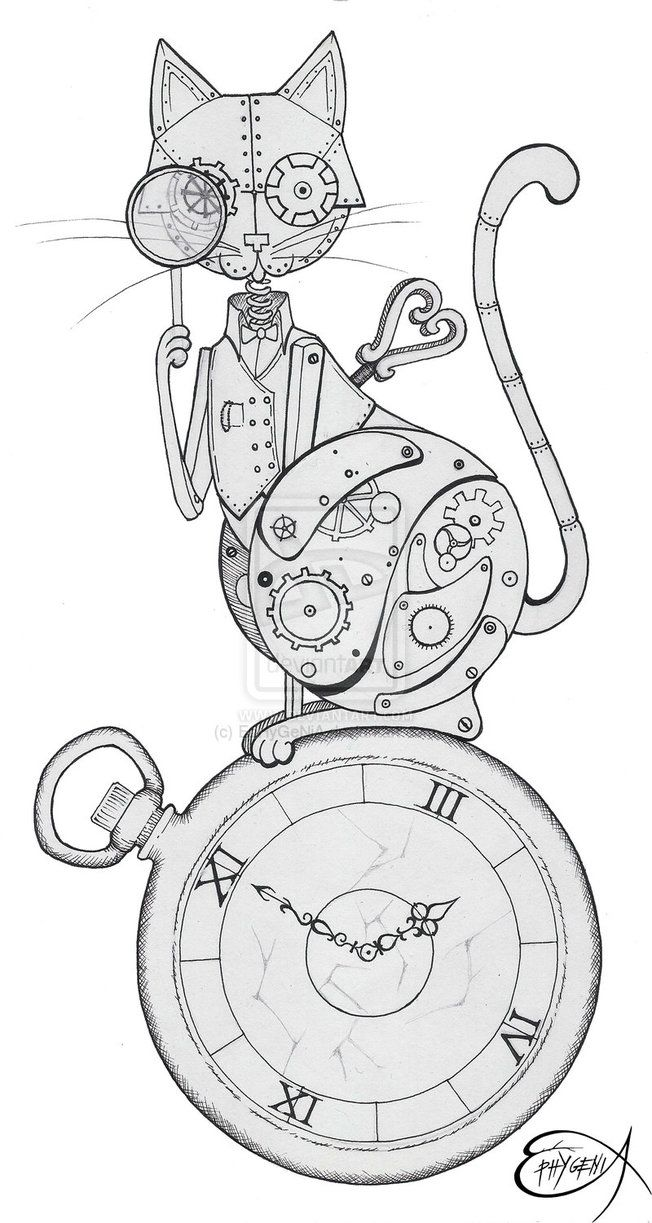 Clockwork Drawing Steampunk clockwork cat wip by
