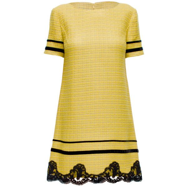 LATTORI Yellow and Black Lace Hem Dress ($99) ❤ liked on Polyvore featuring dresses, vestidos, round neck lace dress, loose fit dress, lace dress, yellow dress and lacy dress
