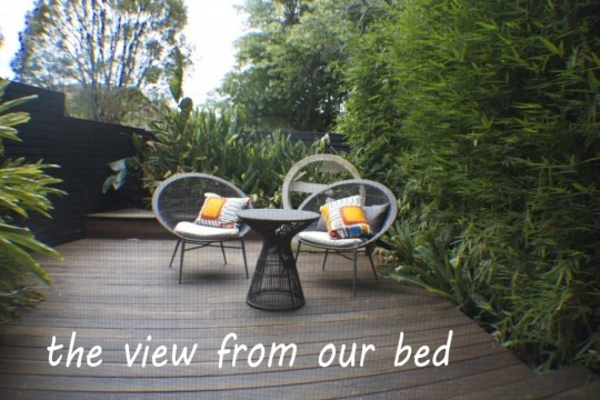 View from our (master) bedroom - our own private courtyard deck...