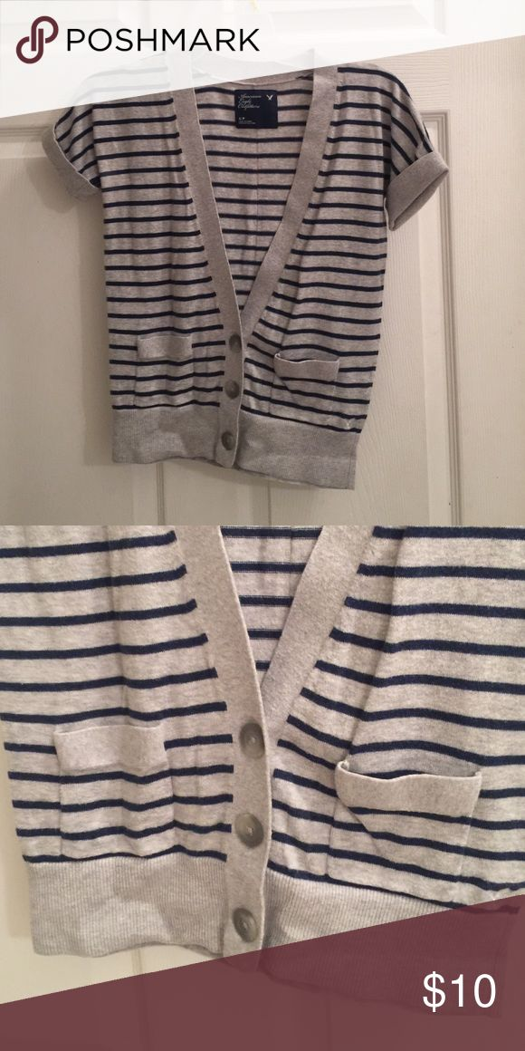 American Eagle short sleeve button up sweater! American Eagle Outfitters sweater. Short sleeve and button up. Two front pockets. Grey and navy stripes. Size small. American Eagle Outfitters Tops Button Down Shirts