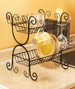 Black Wrought Iron Dish Rack Black Wrought Iron 2 Tier