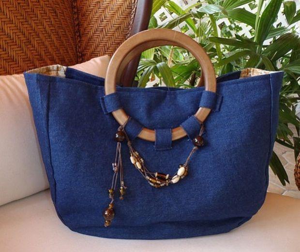 Denim Tote Handbag handmade with round handle Handmade Denim Tote Handbag Ladies Shopping bag, Weekend Handbag Custom Made #handmadebag