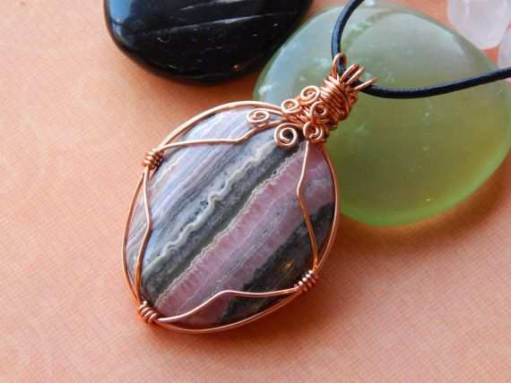 Large Rhodochrosite Wire Wrapped Pendant